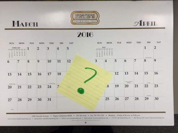 Calendar courtesy of Frye's Printing, Napa, CA